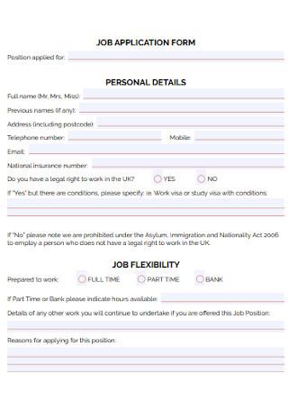 Personal Job Application Form
