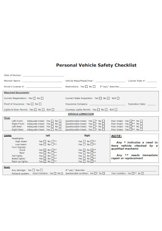 Personal Vehicle Safety Checklist