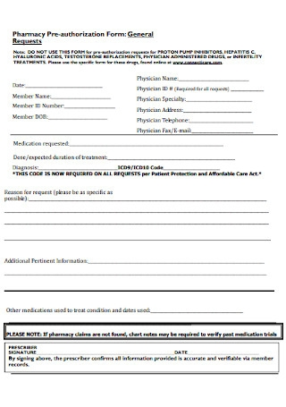 Pharmacy Pre authorization Form