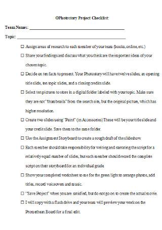 Photostory Project Checklist