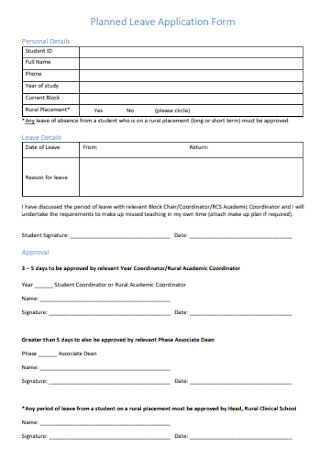 Planned Leave Application Form
