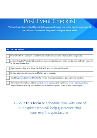 Post Event Checklist Template