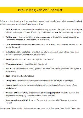 Pre Driving Vehicle Checklist