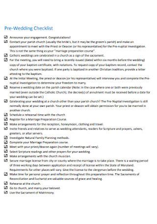 Pre Wedding Checklist Example