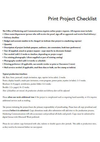 Print Project Checklist