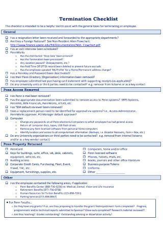 Printable Termination Checklist Template