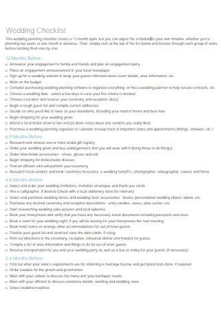 Printable Wedding Planning Checklist Template