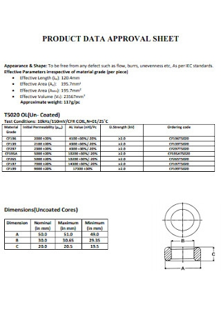 Product Data Approval Sheet