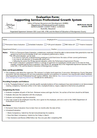 Professional Evaluation Form