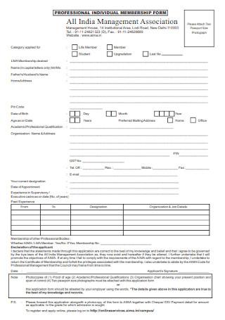Professional IIndividual Membershiip Form