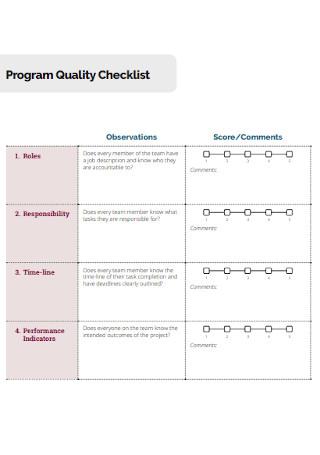 Program Quality Checklist