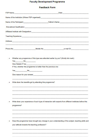 Programme Feedback Form