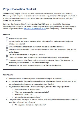 Project Evaluation Checklist