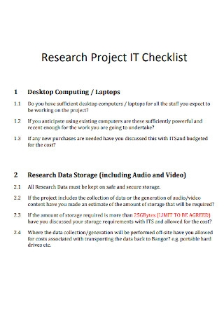 Project IT Research Checklist