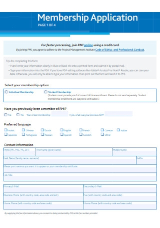 Project Membership Application Form