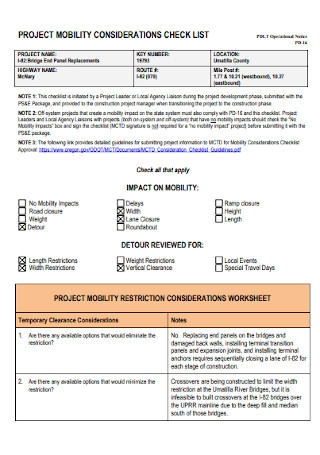 Project Mobility Consideration Checklist
