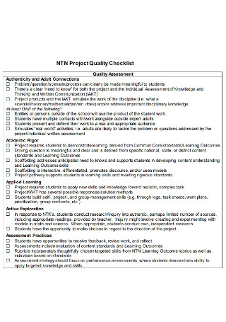 Project Quality Checklist