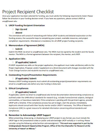 Project Recipient Checklist