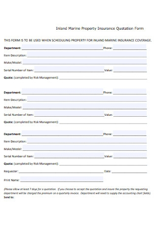 Property Insurance Quotation Form