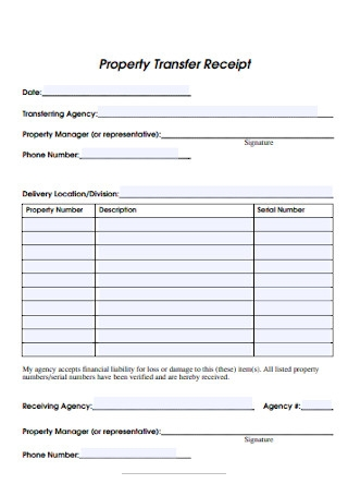 Property Transfer Receipt Form