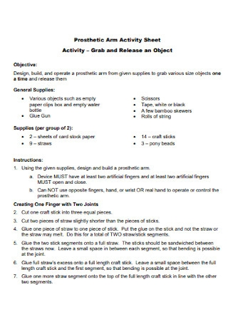 Prosthetic Arm Activity Sheet