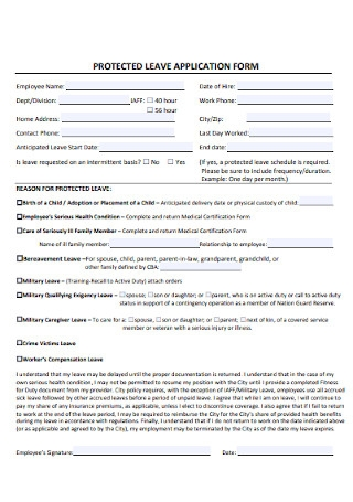 Protected Leave Application Form
