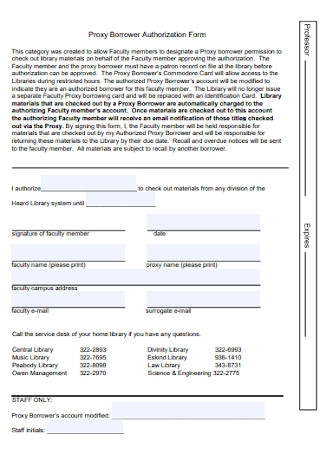 Proxy Borrower Authorization Form