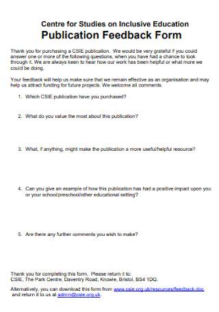 Publication Feedback Form