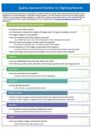 Quality Assurance Checklist for Digitising Records