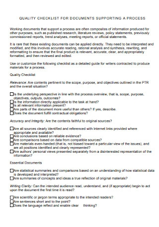 Quality Checklist for Documents