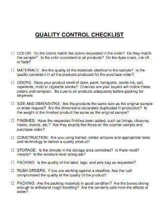 Quality Control Checklist