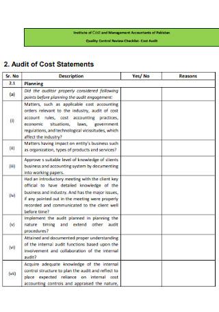Quality Control Review Checklist