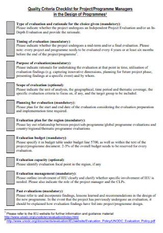 Quality Criteria Checklist for Project