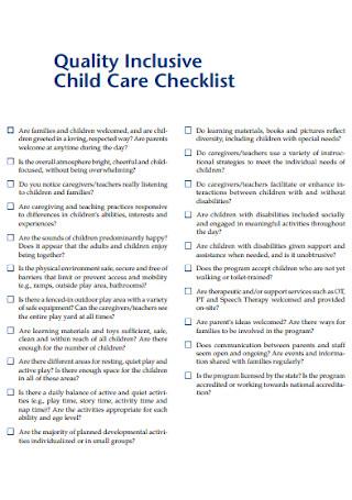 Quality Inclusive Child Care Checklist