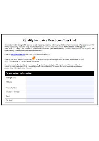 Quality Inclusive Practices Checklist