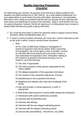 Quality Interview Preparation Checklist
