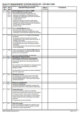 Quality Management System Checklist