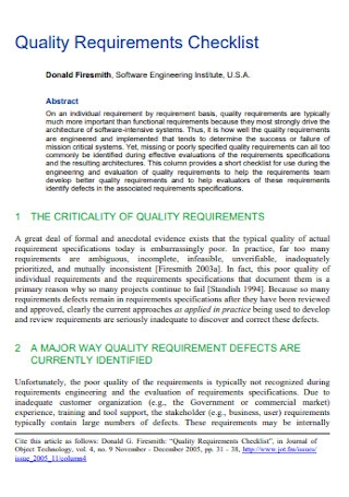 Quality Requirements Checklist Example