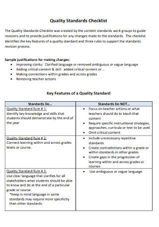 Quality Standards Checklist