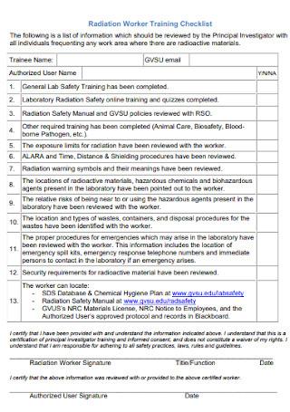 Radiation Worker Training Checklist