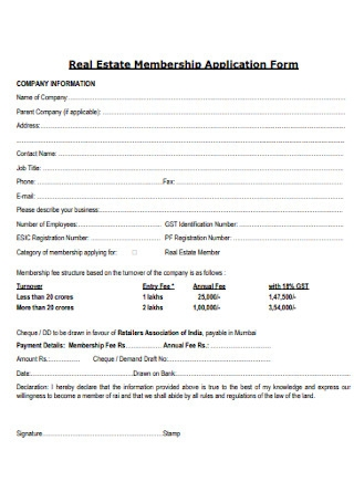 Real Estate Membership Application Form