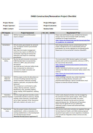Renovation Project Checklist Example
