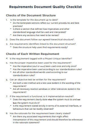 Requirements Document Quality Checklist