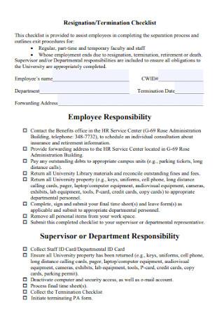 Resignation and Termination Checklist