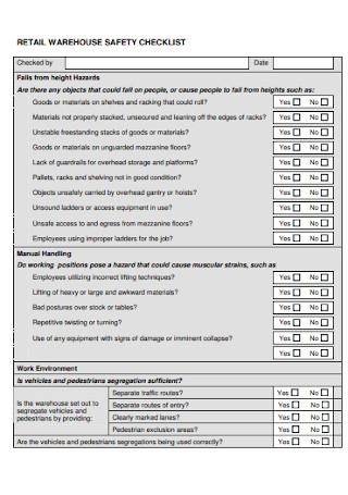 Retail Warehouse Safety Checklist