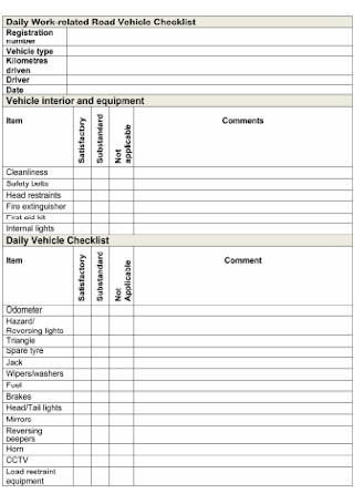 Road Vehicle Checklist