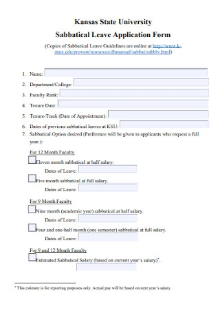 Sabbatical Leave Application Form