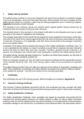 Safety Training Checklist