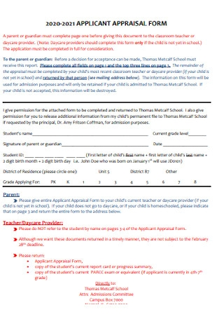 Sample Applicant Apprisal Form