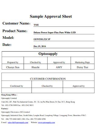 Sample Customer Approval Sheet